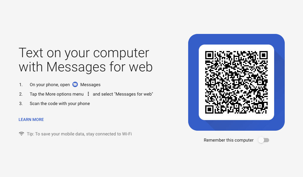 QR Code scanner for Android Messages