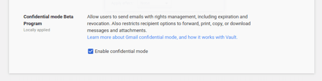 Confidential a Mode admin setting