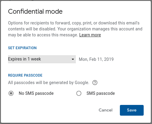 Confidential mode user settings